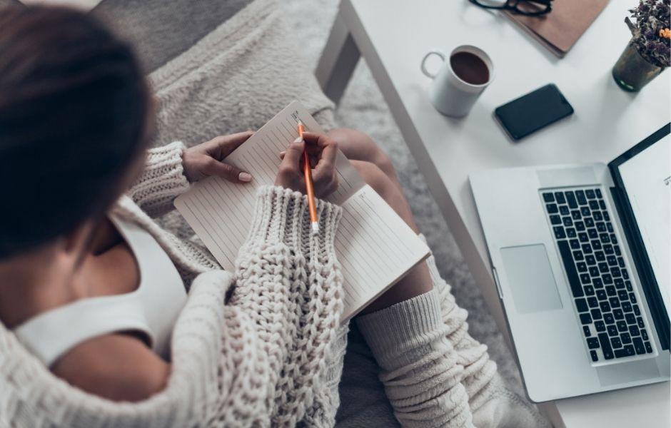 female writing