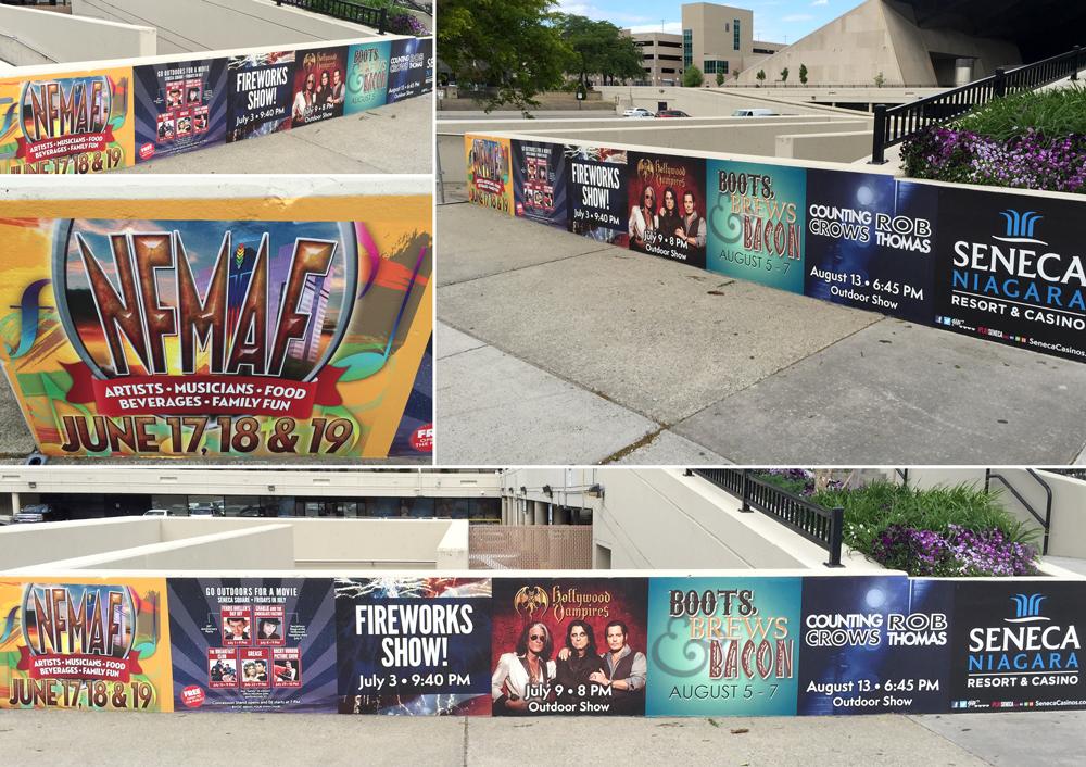 Seneca Niagara outdoor concrete wall graphics collage