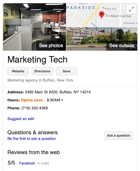 Marketing Tech Google My Business Listing
