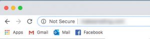 Not secure indication in a web browser's URL bar