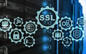 abstract image with icons for web security and SSL