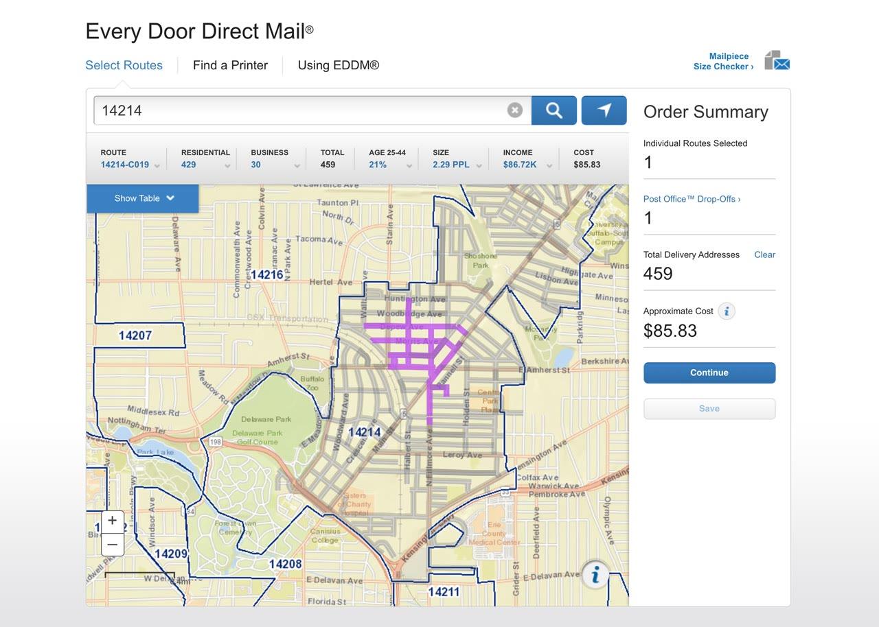 EDDM online tool screenshot