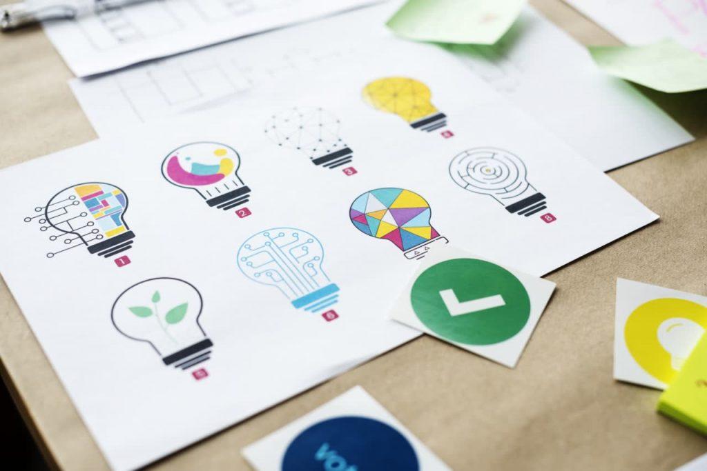 branding brainstorming - various designs of a lightbulb image