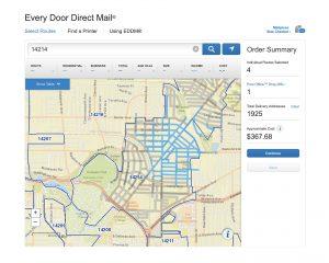 Every door direct mail screenshot