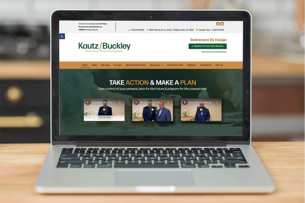 Kautz Buckley Independent Wealth Management website on laptop