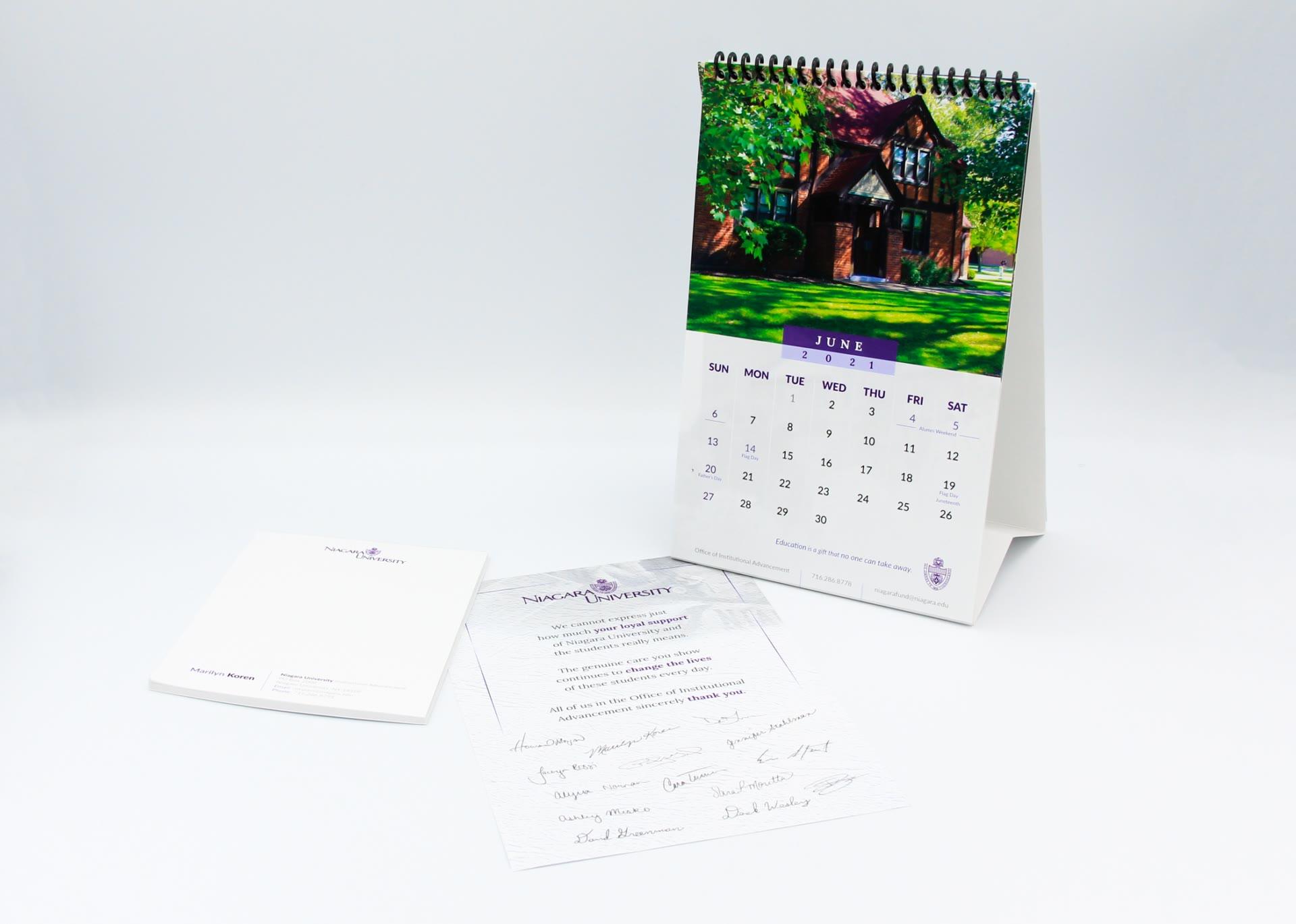 Niagara University branded popup calendar