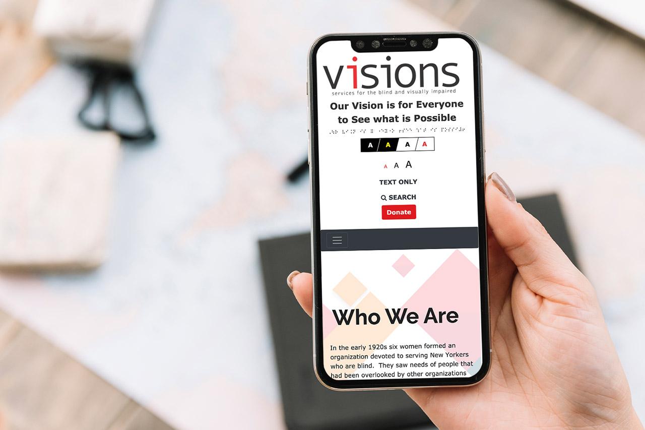 VISIONS website design on mobile