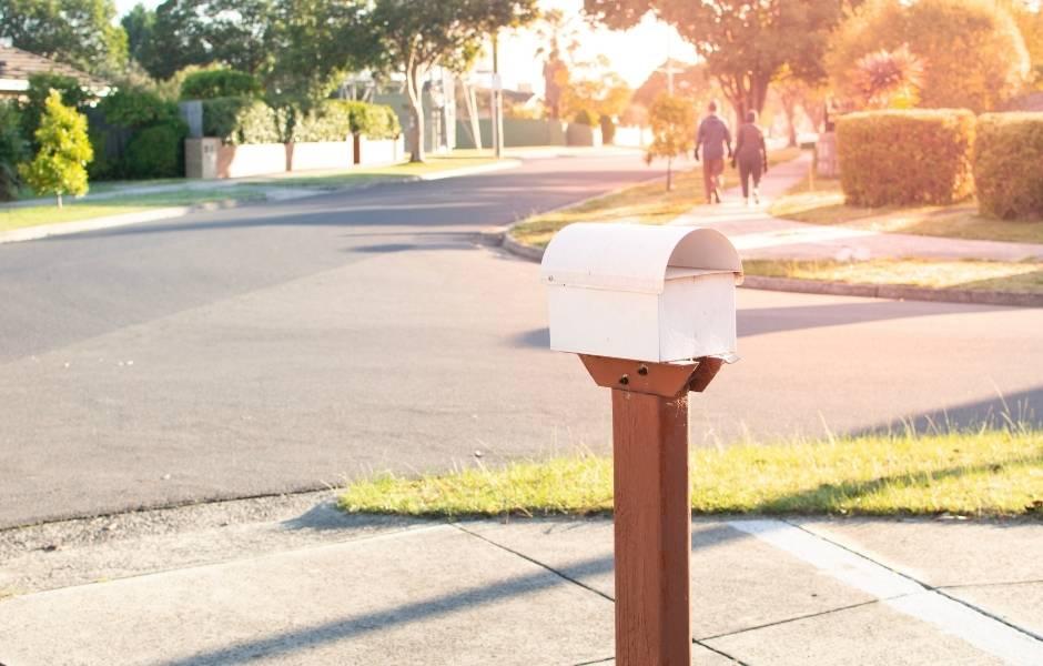 mailbox on a neighborhood street. EDDM covers neighborhoods